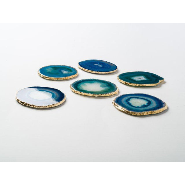2010s Set of Eight Semi-Precious Gemstone Coasters in Teal Wrapped in 24-Karat Gold For Sale - Image 5 of 11
