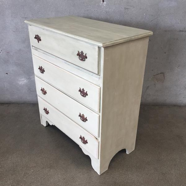 Early American Antique White Secretary Dresser For Sale In Los Angeles - Image 6 of 11