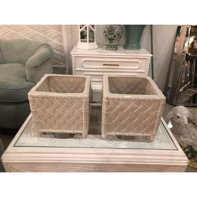 Vintage Hollywood Regency Nora Fenton White Faux Bamboo Ceramic Italian Planters Pots -A Pair For Sale In West Palm - Image 6 of 11