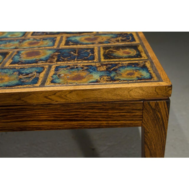 Wood 1960s Danish Modern Rosewood and Tile Coffee Table For Sale - Image 7 of 10