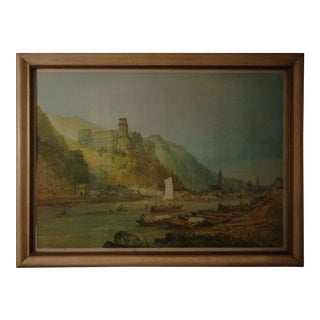 Antique 1890 Germany on the Rhine River Sail Boat Print Landscape For Sale