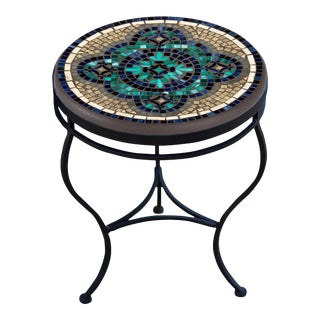 """Sardinia 18"""" Side Table with Black Iron Base For Sale"""