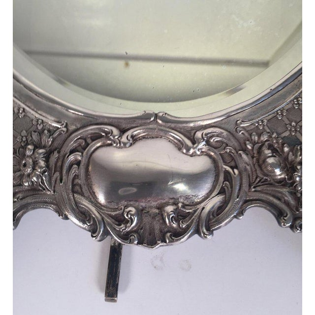 Metal Antique Tiffany Repousse Sterling Silver Standing Vanity Mirror For Sale - Image 7 of 13