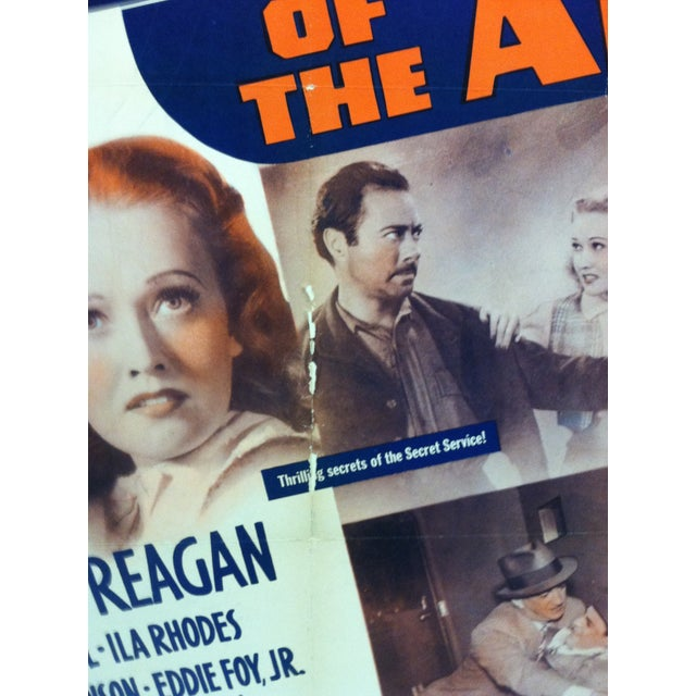 """1930s Vintage """"Secret Service of the Air"""" Ronald Reagan Mounted Movie Poster For Sale - Image 5 of 7"""