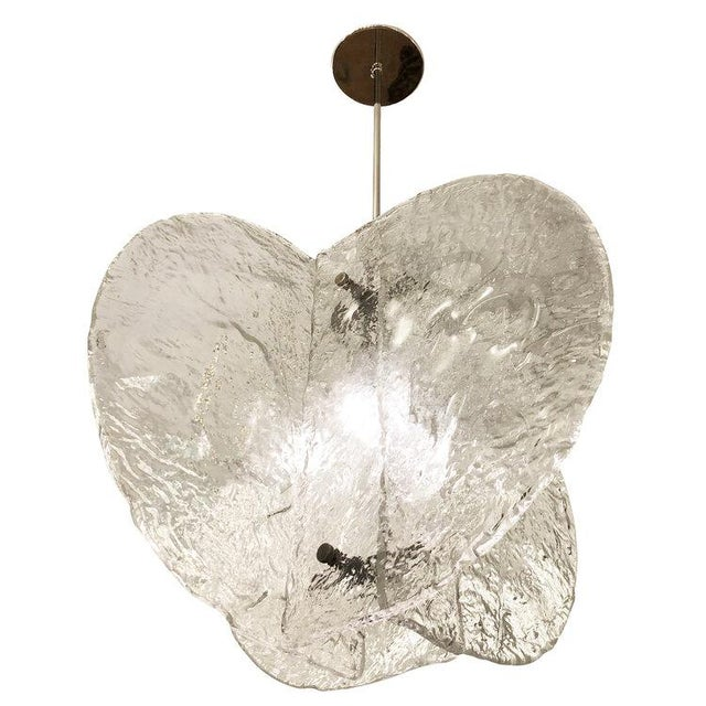 Transparent Textured Murano Chandelier by Mazzega, Italy, 1960s For Sale - Image 8 of 8