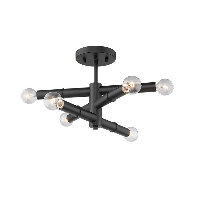 Linear 6 Light Semi-Flush Ceiling, Matte Black For Sale - Image 4 of 5