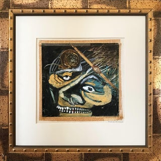 Vintage Surrealist Mixed Media Collage of Expressionist Skull by Charles Milligan C. 1965 For Sale