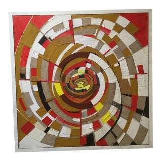 Vintage Mid-Century Abstract Mixed Media Painting For Sale