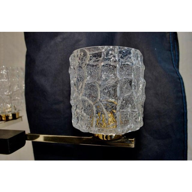 Midcentury French Chandelier with Glass Shades Design by Maison Arlus For Sale In Los Angeles - Image 6 of 7
