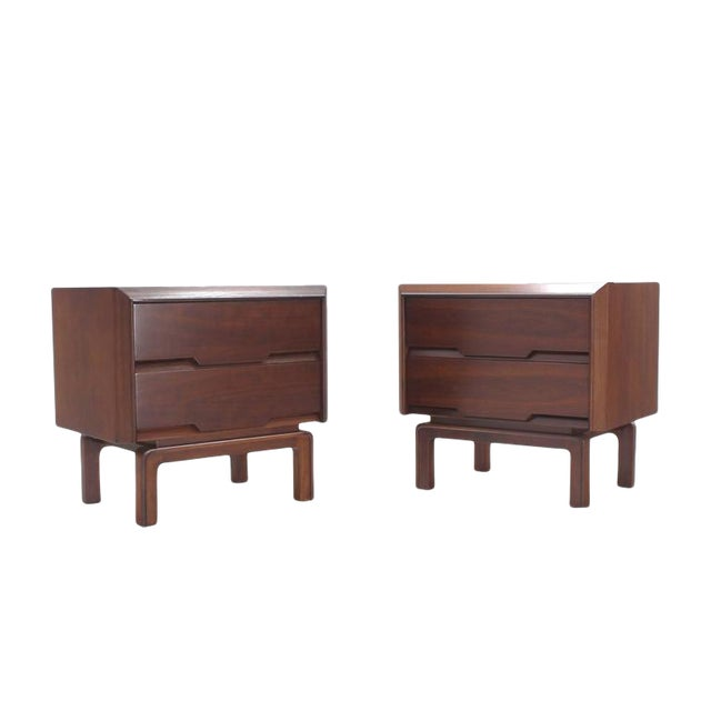 Pair of Danish Mid Century Modern Walnut End Tables Two Drawer Stands For Sale