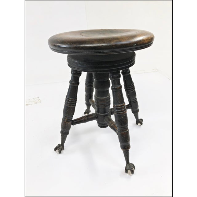 c033ac5a8dcd8 Antique Victorian Wood Swivel Piano Stool With Ball   Claw Feet For Sale -  Image 10