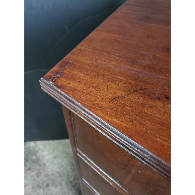 Georgian English Mahogany 2 Over 3 Bow Front Chest on Bracket Feet For Sale - Image 9 of 13