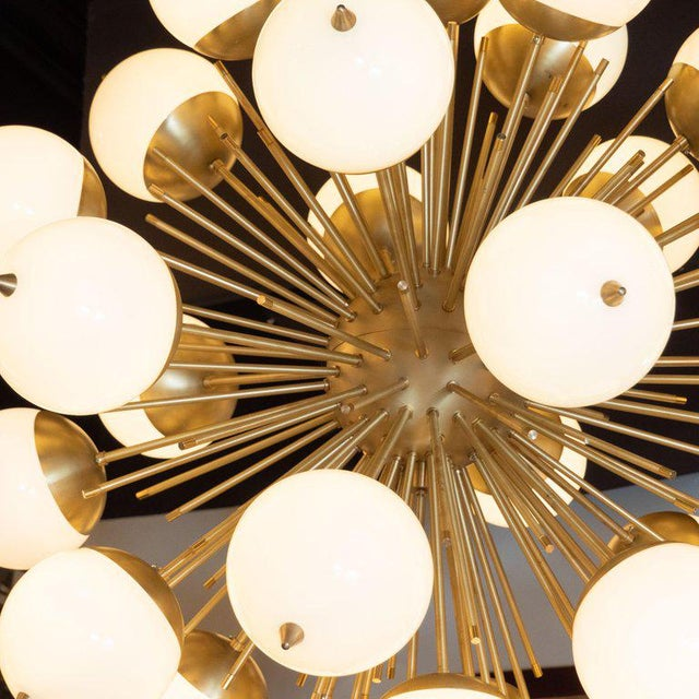 Contemporary Modernist Hand Blown Murano Frosted Glass and Brushed Brass Sputnik Chandelier For Sale - Image 3 of 9