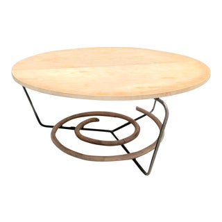 Mid-Century Vintage Shirley Ritts Iron & Bamboo Rattan Round Table, Wroughtan For Sale
