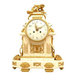 French Louis XVI Style '19th Century' White Marble Mantle Clock For Sale