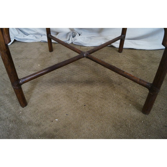 McGuire Rattan Bamboo Square Glass Top Side Table - Image 10 of 10