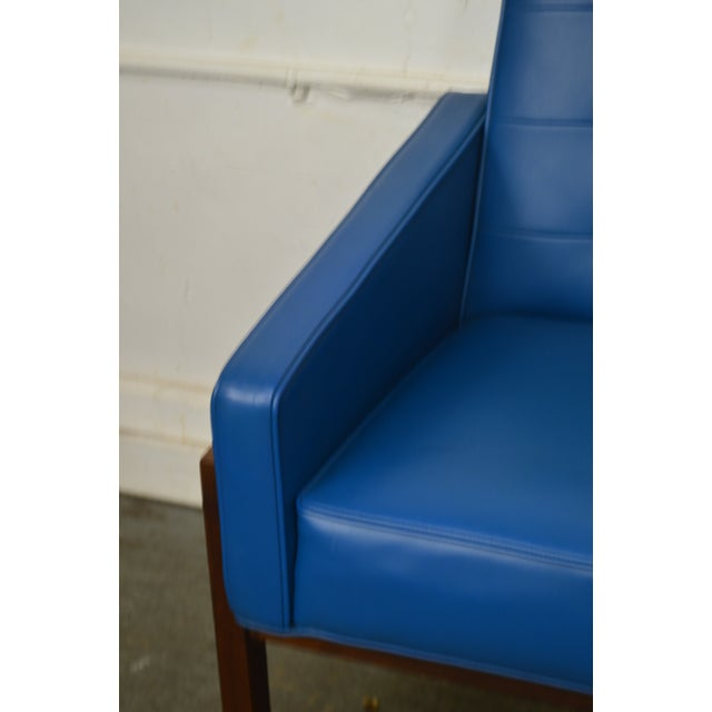 Mid Century Modern Pair of Walnut Frame Orange & Blue Lounge Chairs For Sale In Philadelphia - Image 6 of 13
