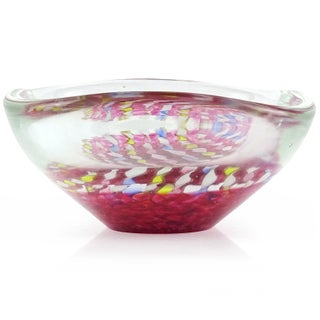 Murano Italian Pink Yellow Blue White Aventurine Flecks Ribbons Art Glass Bowl Preview