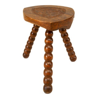 Turn-Of-The-Century English Renaissance Style Walnut Stool For Sale