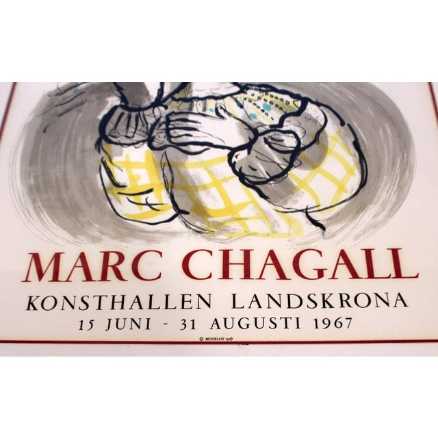 Mid 20th Century Mid Century Modern Vintage Framed Marc Chagall Poster Lithograph 1967 For Sale - Image 5 of 9