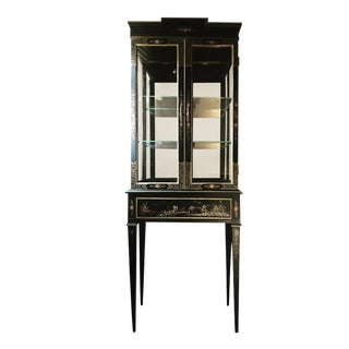 1970s Chinoiserie Drexel Lighted Cabinet For Sale