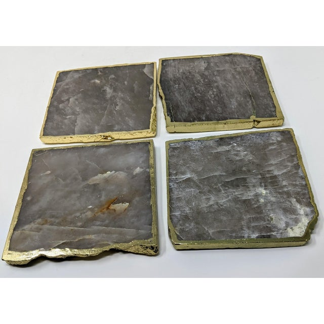 Organic Modern Smoke Gray Agate Coasters With Gold Metal Edge - Set of Four (4) For Sale - Image 11 of 12
