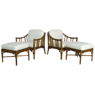 Pair of McGuire Bamboo Rattan Lounge Chairs With Ottomans