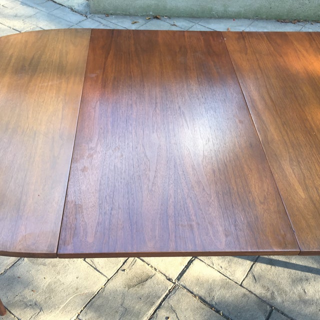 Walnut Mid Century Modern Dining Table With Two Leafs - Image 8 of 11