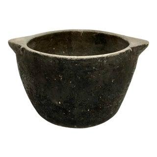 1980s Organic Black and Gray Limestone Bowl Planter For Sale
