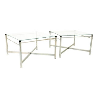 Milo Baughman Style Mid Century X Base Chrome and Glass Side End Tables - Pair For Sale