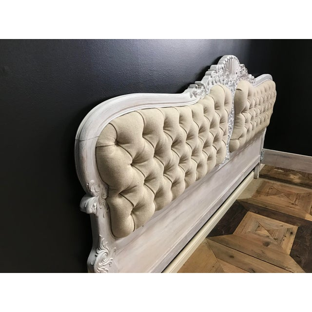Metal Gustiavian White Washed Baroque Style Carved Tufted Linen King Size Bedframe For Sale - Image 7 of 10