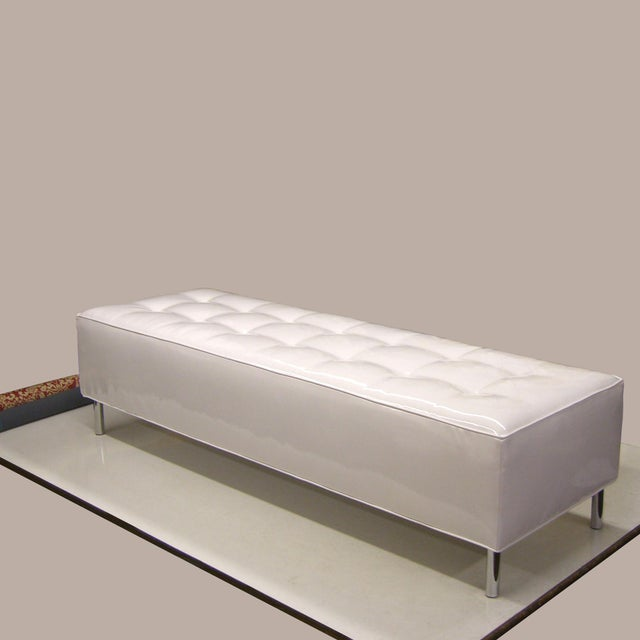"""Cosmo Day Bed, 72"""" W 24"""" D 18"""" H, This daybed with white patent vinyl and polished chrome finish legs offers a practical..."""