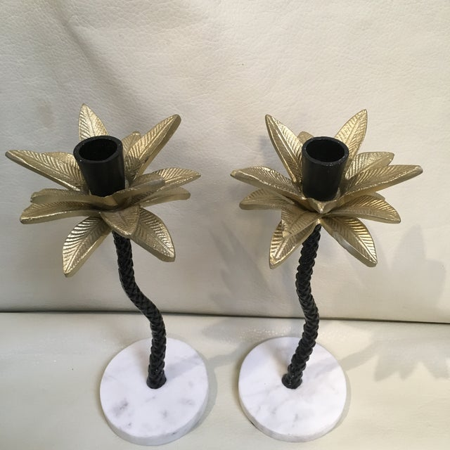 Metal Palm Tree Candle Holders - a Pair For Sale - Image 7 of 7