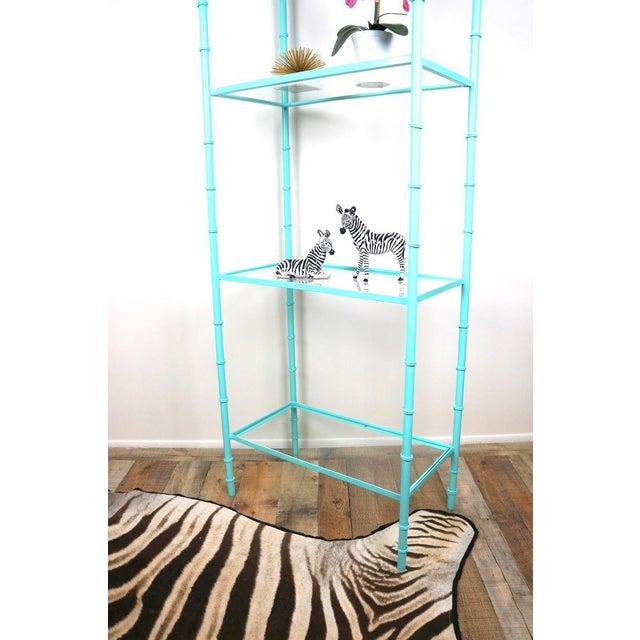 Hollywood Regency Faux Bamboo Turquoise Etagere Shelf For Sale - Image 3 of 7