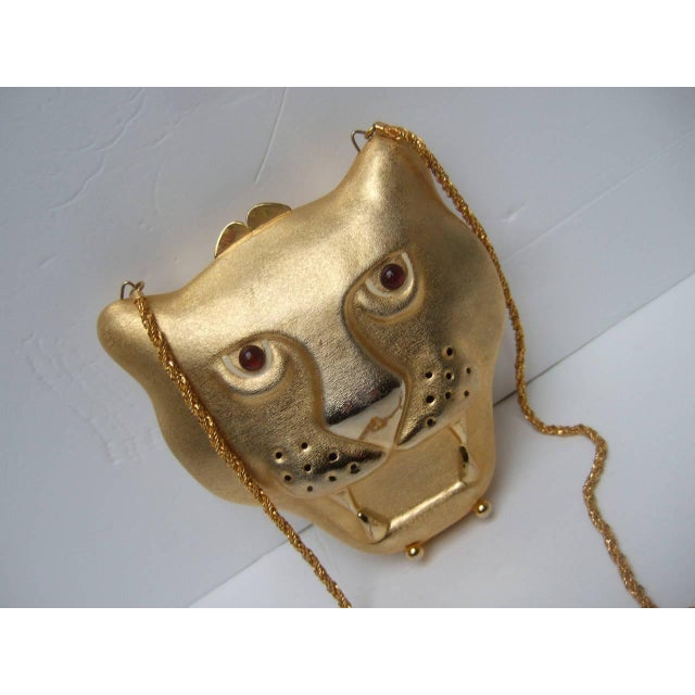 Italian Saks Fifth Avenue Gilt Metal Panther Evening Bag Made in Italy For Sale - Image 3 of 8