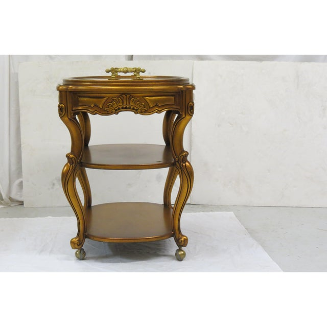 French Style Giltwood Serving Cart For Sale - Image 4 of 6