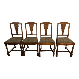1930s Vintage Art Deco Skyscraper Chairs- Set of 4 For Sale