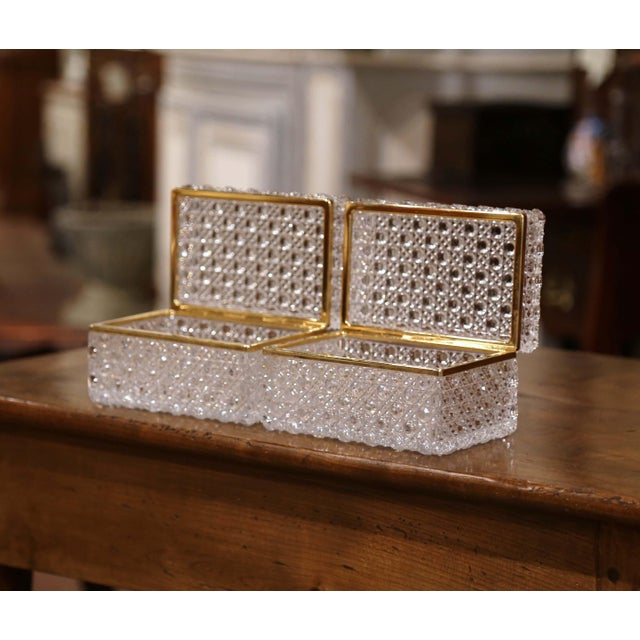 French Pair of Early 20th Century French Baccarat Cut Glass and Brass Jewelry Boxes For Sale - Image 3 of 10
