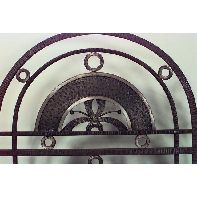 Art Deco French Art Deco Wrought Iron Filigree Circle Design 4 Panel Gate For Sale - Image 3 of 5