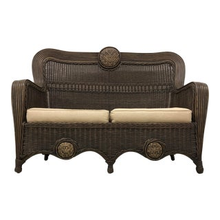 1930s French Art Deco Wicker Settee For Sale