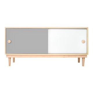 Lukka Modern Kids Credenza Console in Maple With Gray Finish For Sale