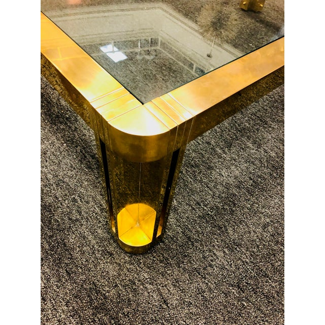 Gold 1970s Italian Brass Coffee Table With Great Design For Sale - Image 8 of 11