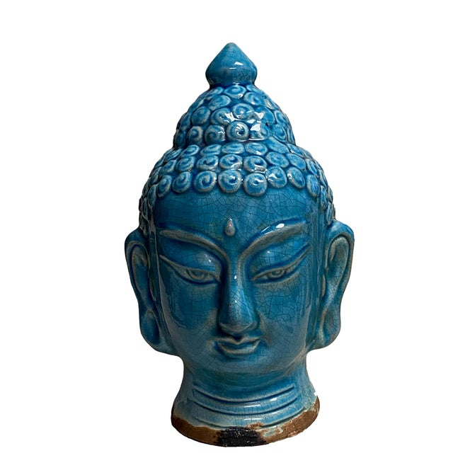Asian Early 20th Century Blue Glazed Buddha Head For Sale - Image 3 of 12