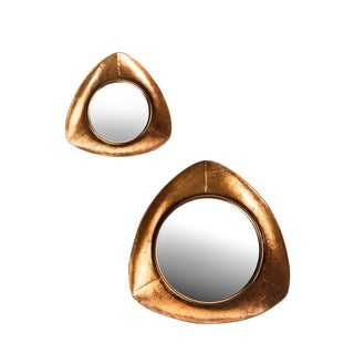 Modernist Copper Mirrors - a Pair For Sale