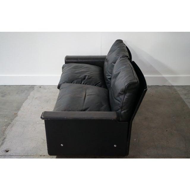 Mid-Century Modern Vintage Black Leather Sofa by German Designer Dieter Rams For Sale - Image 3 of 8