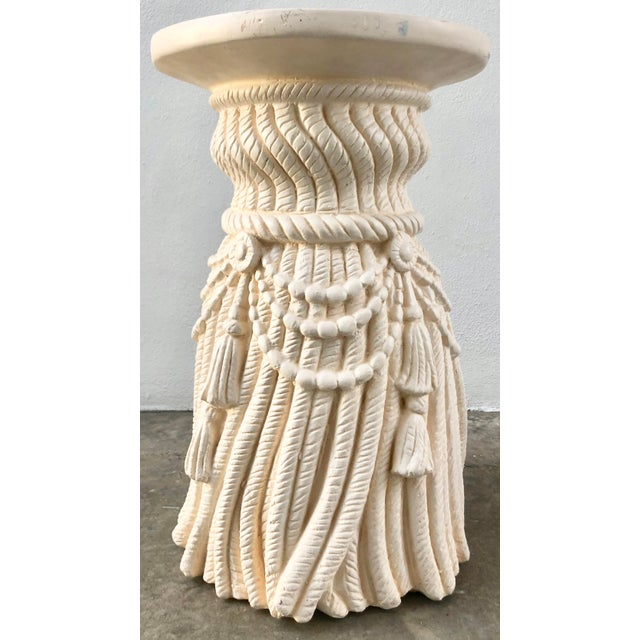 Rope and Tassels Plaster Side Table For Sale In Miami - Image 6 of 6