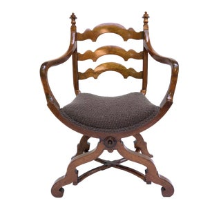 Early 20th Century Italian Cross Base Neoclassical Wood Armchair For Sale