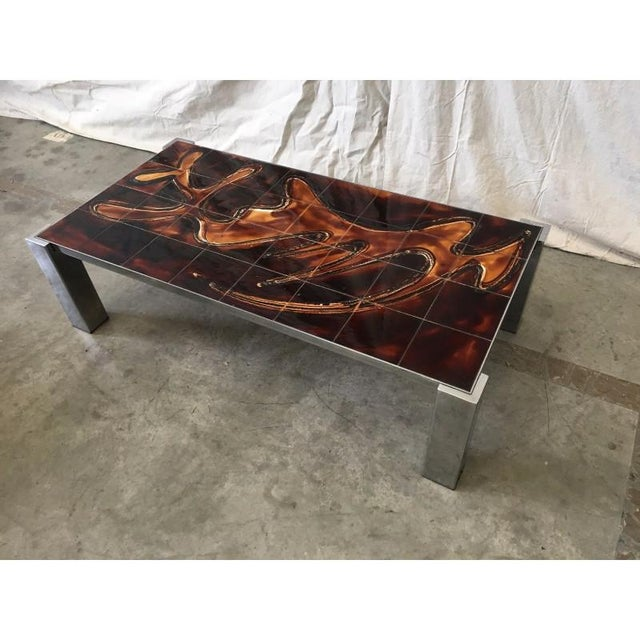 Mid-Century Modern Mid-Century Tile Top Coffee Table With Chrome Frame For Sale - Image 3 of 8