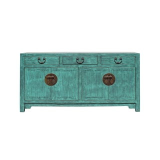 Distressed Teal Blue Wood Pattern Sideboard Console Table Cabinet For Sale