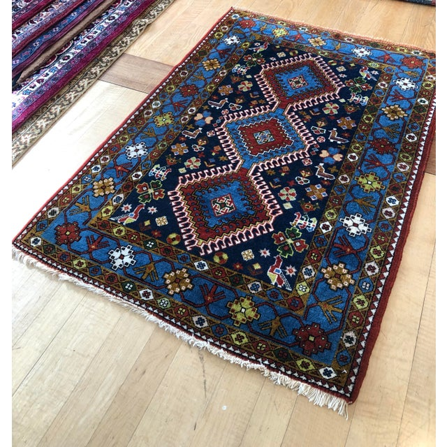 "1950s Vintage Hand-Knotted Wool Tribal Afshar Rug-3'6""x5'1"" For Sale - Image 11 of 13"